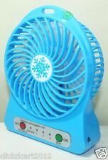 Portable Mini Rechargeable LED Light Fan With Battery & USB Cable-Blue
