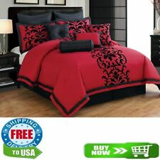 10 Piece Queen, King Black and Red Comforter Set Queen
