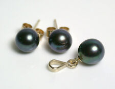 6.5mm AAA quality black Akoya saltwater pearl 9ct gold earrings & pendant