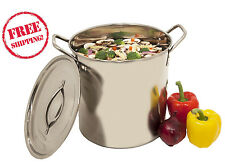 Polished Stainless Steel Stock Pot Brewing Mash Tun 20 Qt Kettle Large NEW w/Lid