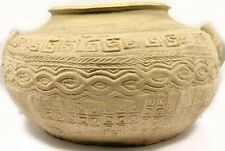 Ancient China Earthenware Intricate Impressed Design Two-Handled Jar/Pot 200BC