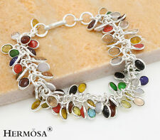65% OFF High Discount Rainbow Coral,Peridot,Chalcedony Sterling Silver Bracelet