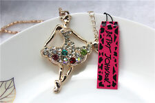 Betsey Johnson Fashion jewelry Crystal lovely beauty Pendant Long Necklace Y12
