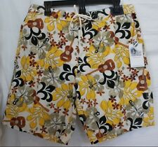 Cremieux Size S Small Guitar Brown Floral New Mens Swimming Trunks Shorts