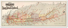"BIG Long Island New York City MAP showing the Railroad LIRR circa 1895 24""x 60"""