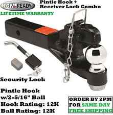 """TOW READY PINTLE HOOK 12,000 lbs. w/ 2-5/16"""" BALL + BENT PIN RECEIVER HITCH LOCK"""