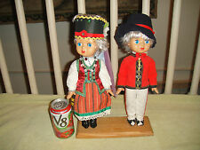 Vintage Polish Or German Boy & Girl Dolls-Traditional Clothing-Eyes Close-Cute