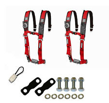 """Pro Armor 4 Point Harness 2"""" Seat Belt Pair Mount Kit Bypass Red YXZ 1000R 2017"""
