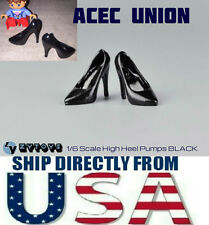 "U.S. SELLER - 1/6 Scale High Heel Pumps Shoes BLACK For 12"" Female Figures"