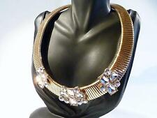 GOLD PLATED COLLAR NECKLACE WITH RHINESTONE DECORATION - 4cm + extender......804