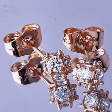 Safety Rose Gold Filled Swarovski Crystal Little Girls Kids Stud Ball Earrings
