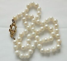 Antique Cultured Pearl Necklace 18ct Gold Ornate Clasp 17 inch Long