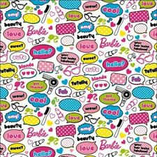 MATTEL BARBIE BEAUTY ACCESSORIES & SAYINGS COTTON FABRIC BTY