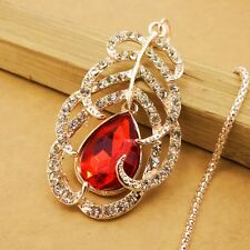 Fashion gold plating Crystal Peacock feather sweater chain long necklace GG282