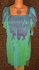NWT! UNITY BOHO PAISLEY SMOCKED FLUTTER SLEEVE SUBLIMATION PEASANT TOP * SMALL