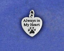 Always in My Heart Charm Pendant Pet Dog Cat Memorial Pawprint Sterling Silver P