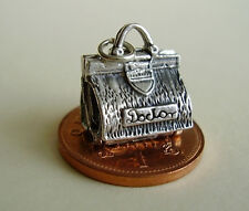 DOCTORS MEDICAL BAG / BABY   OPENING  STERLING SILVER  CHARM