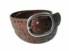 Fossil Women's Brown Perforated Floral Leather Belt Small (S) New NWT
