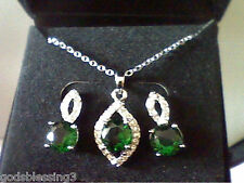 WOMENS LCS EMERALD & LCS  DIAMOND EARRINGS  AND 18 INCH NECKLACE 2 PC SET