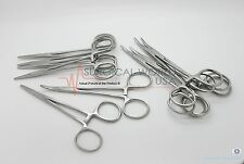 "6 Halsted Mosquito Hemostat Locking Forceps 5"" Curved Surgical Instruments"