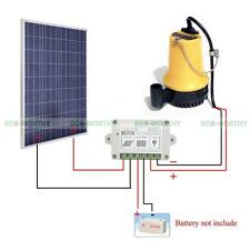 Solar Pump DC 12V System w/100W Solar Panel & 15A Solar Controller for Watering