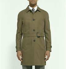 Hardy Amies NEW Olive Green Cotton Gabardine Belted Short Trench Coat Size 40R