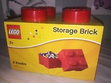 Lego Storage Brick 4 Knobs Red Stackable NEw