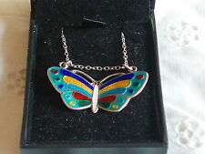 VINTAGE STERLING SILVER & ENAMEL BUTTERFLY PENDANT NECKLACE WITH BOX
