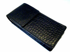 Black Crocodile Print Magnetic Leather Triple/Quadruple, 4 Pens.Pen Case/Pouch