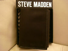 NEW WITH BOX MEN'S GENIUNE LEATHER STEVE MADDEN TRIFOLD WALLET BLACK ID
