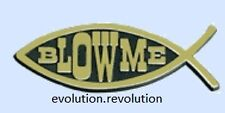 """""""Blow Me"""" Fish Emblem Car Plaque Decal Sticker HARD PLASTIC Atheist Freethought"""
