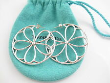 Tiffany & Co RARE HUGE Silver Garden Petal Flower Circle Round Earrings!