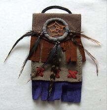 Brustbeutel grau 235 Halskette Dreamcatcher schwarz Leder Traumfänger necklace