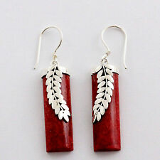 ES001 Earrings organic RED CORAL AND STERLING SILVER hand made organic jewelry
