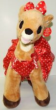 BUILD A BEAR Clarice Rudolph The Red Nosed Reindeer Plush w/Polka Dot Dress