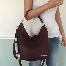 NEW MICHAEL KORS Fulton Leather Large Shoulder Crossbody Bag Hobo Purse Wine Red