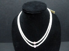 NECKLACE VINTAGE  DOUBLE STRAND ( CULTURED PEARL/ NEPHRITE PINK ) BEADS 6101