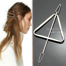 Silver Triangle Arrow Hair Slide Ponytail Bun Holder Pin Clip Dress Stick Gift