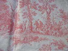ancien tissu textile coupon toile de jouy coton rose décor le petit poucet