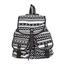 Lightweight Bohemian Tribal Aztec Canvas Backpack School Travel Shoulder Bag