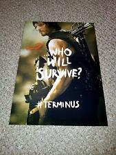 "THE WALKING DEAD PP SIGNED 12""X8"" POSTER NORMAN REEDUS DARYL TERMINUS SEASON S5"