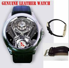 Iimited Edition Harley Davidson Machine Sport Genuine Leather Watch Free Box