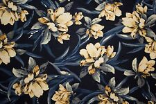 Blues Yellows Floral Print #45 100 Rayon Challis Sewing Shirt Apparel Fabric BTY