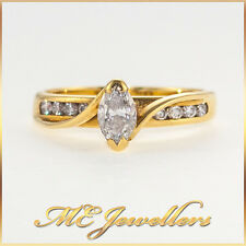 Solid 18k 18kt 18ct Yellow Gold Diamond Ring Marquise 0.50ct Natural Diamonds