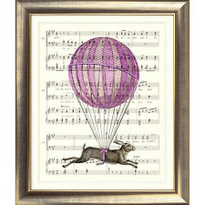 ART PRINT ORIGINAL VINTAGE MUSIC SHEET Page HARE BALLOON Rabbit Pink Old Picture