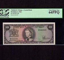Trinidad & Tobago, 10 Dollars 1964, P-28c, PCGS UNC 64 PPQ * Queen Elizabeth *