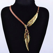 COFFEE+GOLD Crystal Feather Leaf Pendants Multi Leather Chain Choker Necklaces