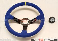 EPR 350mm Deep Dish Steering Wheel in Blue Suede Fits Momo OMP Sparco Nardi Boss