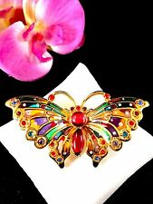 JOAN RIVERS GOLD PLIQUE DU JOUR STAINED GLASS RHINESTONE BUTTERFLY BROOCH
