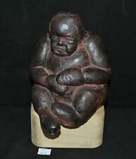 ThriftCHI ~ Clay Studio Pottery Figurine w Wooden Base Signed Ohana '96